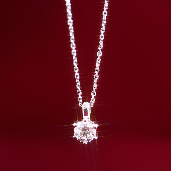 【送料無料】1粒ダイヤネックレス 天然ダイヤモンド0.15ctUP/JカラーUp/SIUp/GOODUp×K18ホワイトゴールド 鑑定書付き