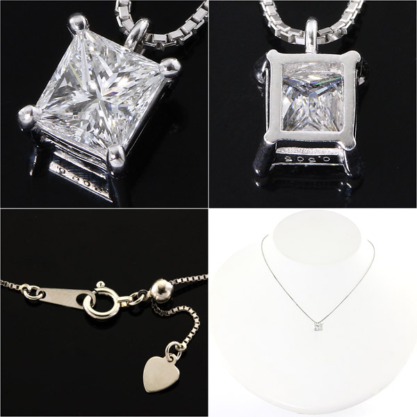 天然ダイヤモンド0.5ctUpプリンセスカット K18ホワイトゴールドネックレス
