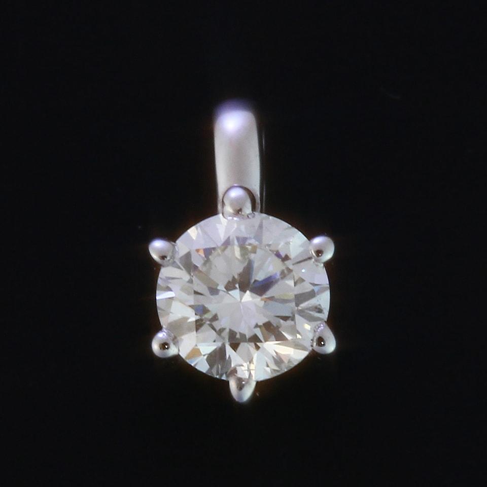 天然ダイヤモンド0.15ctUp K18ホワイトゴールド 一粒ダイヤペンダントトップ