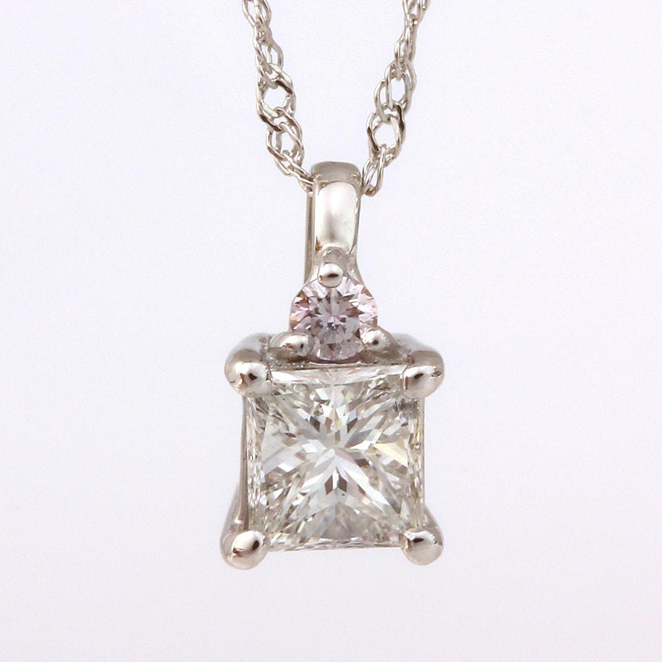 天然ダイヤモンド0.25ct&天然ピンクダイヤモンド0.025ct K18WGネックレス