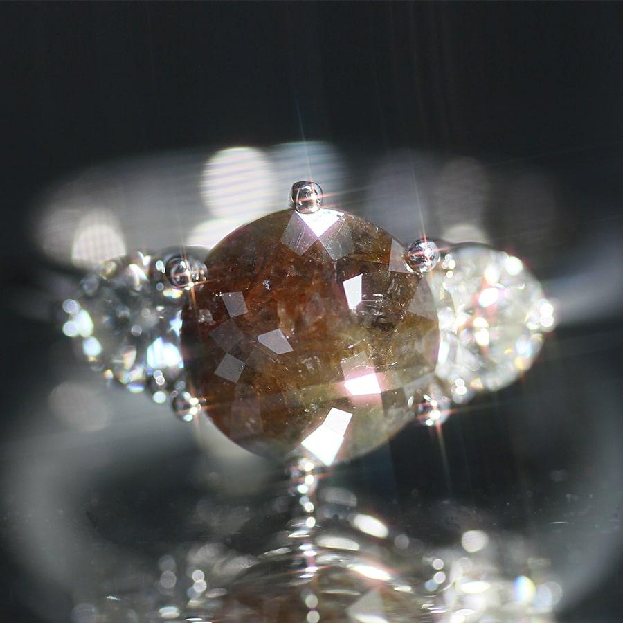 株式会社サハダイヤモンド 株主様ご優待  -NEXT DIAMOND-<br>天然ダイヤモンド プラチナリング カラーブラウン系 2.088ct ラウンドローズカット 18.5号