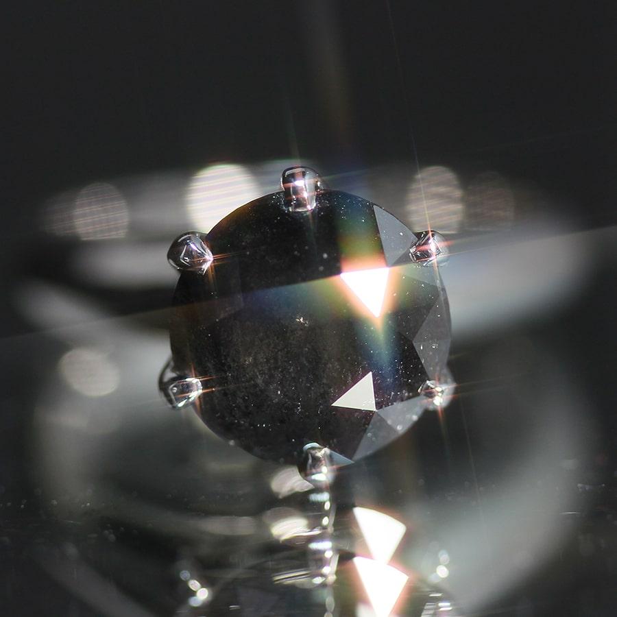 株式会社サハダイヤモンド 株主様ご優待  -NEXT DIAMOND-<br>天然ダイヤモンド プラチナリング ブラックダイヤンモンド 2.85ct ラウンドモディファイドカット 10号