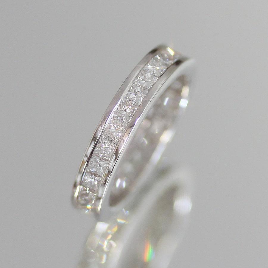 株式会社サハダイヤモンド 株主様ご優待 天然ダイヤモンドプリンセスカット計1.84ct×K18ホワイトゴールド フルエタニティリング12号