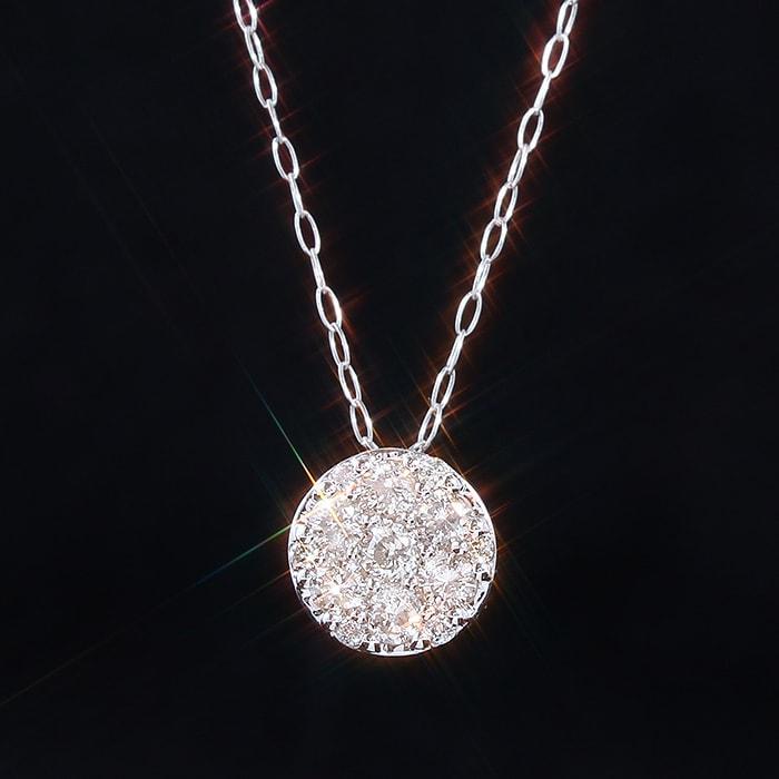 天然ダイヤモンド0.3ct ラウンドペンダント・ネックレス K18ホワイトゴールド【鑑別カード付】
