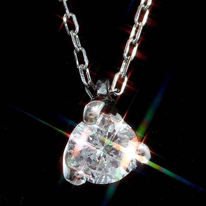 天然ダイヤモンド0.2ct×Pt900×Pt850プラチナ1粒ペンダントネックレス レディース